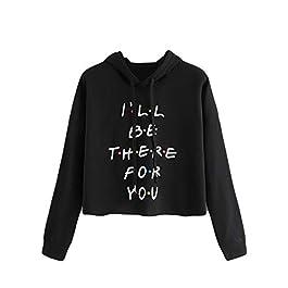 UONQD Women Hoodie Long Sleeve Letter Print Drawstring Raglan Sweatshirt