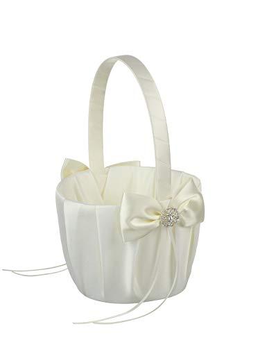 DivaDesigns Medium Size Wedding Flower Girl Basket Crystal Jewel Pendant- 615 Ivory