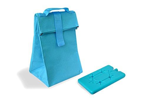 Faltbare Isoliertasche mit Kühlakku in Pink, Blau oder Grün | Trendige Kühltasche Picknicktasche | ca. 14,5 x 17,5 x 27 cm Bla