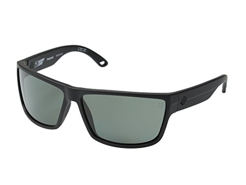 Spy Optic Rocky Sunglasses Matte Black w/ Happy Grey Green Polarized Lens + Leash