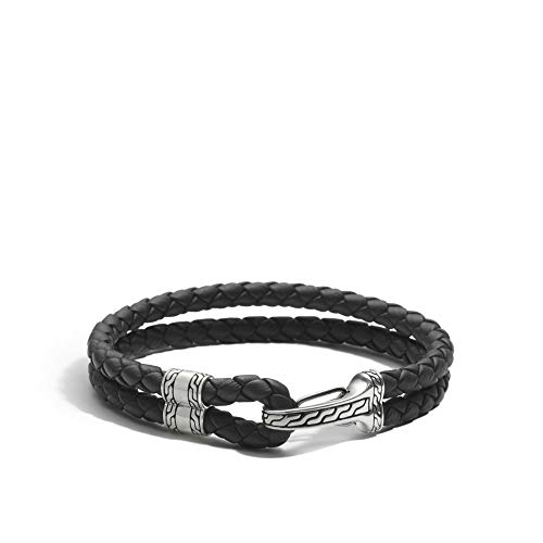 John Hardy Men's Classic Chain Silver Hook Station Bracelet on 5mm Black Leather Cord, Size M (John Hardy Bracelet Black)
