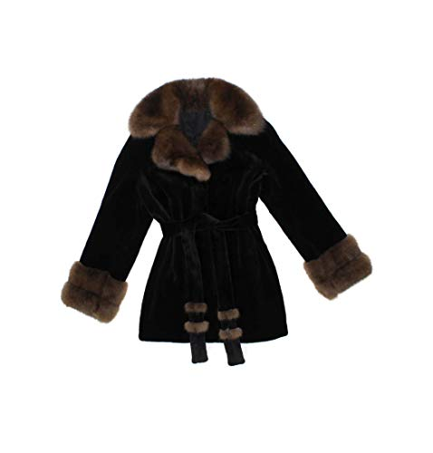 Bergama 716215 New Black Sheared Mink Brown Sable Fur Stroller Coat Jacket ()