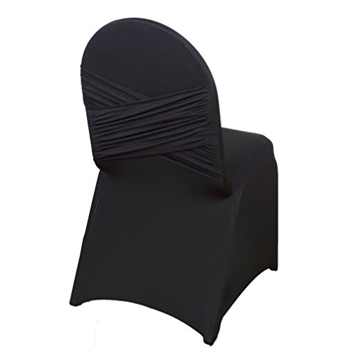 BalsaCircle 25 pcs Black Banquet Spandex Stretchable Chair Covers Crisscross Design Slipcovers for Wedding Party Home Decorations