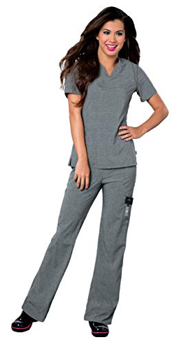 Landau Smitten Women's Scrub Set Bundle - S101002 Rock Goddess V-Neck Top & S201002 Hottie Cargo Drawstring Flare Leg Pants & Marc Stevens Badge Reel (Heather Grey - Large/Medium Tall) ()