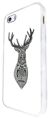835 - Aztec Deer Head Design iphone SE - 2016 Coque Fashion Trend Case Coque Protection Cover plastique et métal - Blanc