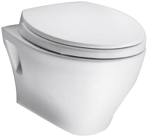 TOTO CT418F#01 Aquia Wall-Hung Dual-Flush Toilet Bowl, Cotton White Biscuit Dual Flush