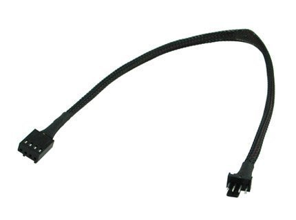 (PWM Male to 4 Pin PWM Female 12-Inch 4 Pin with Black Sleeved Premium Extension Cable)