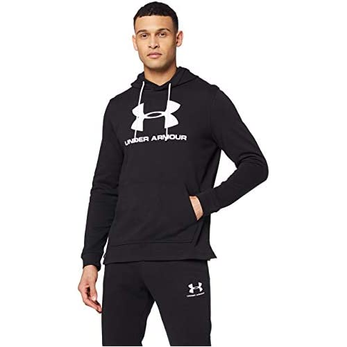 chollos oferta descuentos barato Under Armour Sportstyle Terry Logo Hoodie Sudadera con Capucha Hombre Negro Black White L