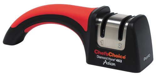 Chef'sChoice Pronto 463 Diamond Hone for Santoku 15-degree Knives Highly Recommended Ranked Best Manual Sharpener for 15-degree Knives by Cook's Illustrated Extremely Fast Sharpening, 2-Stage, Red (Choice Angle Chefs)