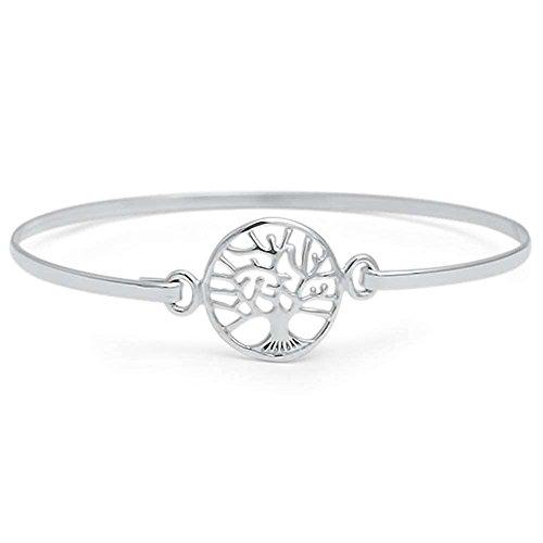 Oxford Diamond Co Tree of Life .925 Sterling Silver Bangle Bracelet