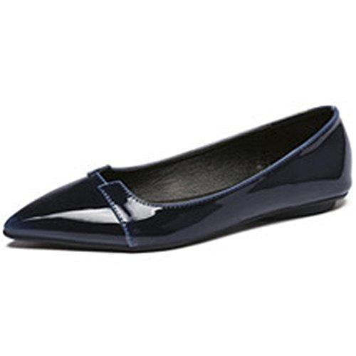Low Shoes Flats Boat Leather Blue Ballet Toe Women's Faux Pointy QZUnique Slip on CwqaR6X