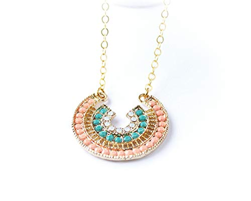 Horseshoe Pendant Necklace with Coral Pink, White and Turquoise Rhinestones, Gold Filled Cable Chain, Customize Length, Magnetic Clasp, Good Luck Jewelry