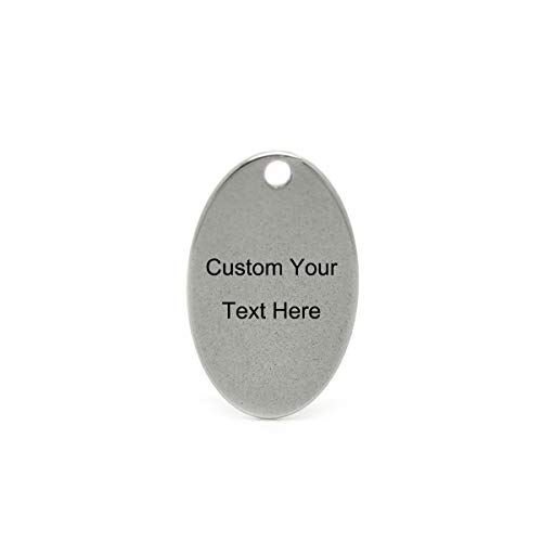 - 20PCS Bulk Engraved Stainless Steel Oval Charms Pendant Custom Stamping Blanks Tags 17.5x11.5mm