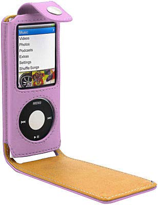 HD Accessory Leather Folio Case for 4th Generation iPod Nano 4G (Pink) (Ipod Nano Leather Case)