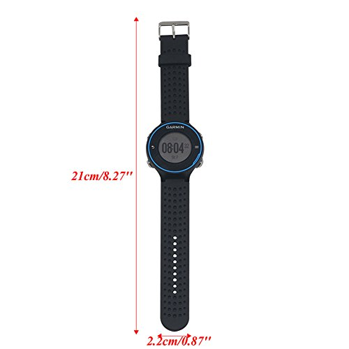 SCASTOE Replacement Silicone Watch Strap Band with Repair Tool + Pin for Garmin Forerunner 230 235 630 735 Black