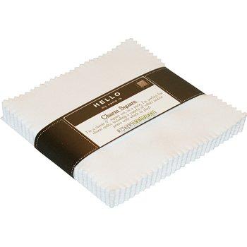 Robert Kaufman 5in Squares Kona Solids White Colorway 42Pcs
