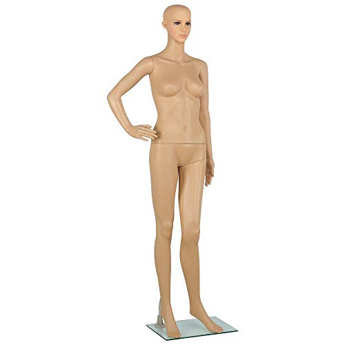 (Yaheetech Plastic Female Mannequin Adjustable Realistic Display Full Body Dress Form 68.9