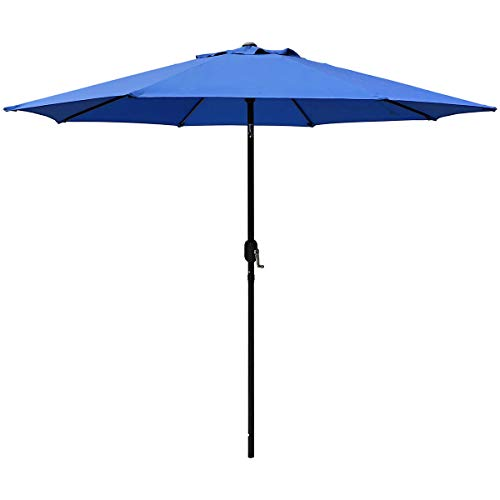 ABBLE Outdoor Patio Umbrella 9 Ft with Tilt and Crank, Weather Resistant, UV Protective Umbrella, Durable, 8 Sturdy Steel Ribs, Market Outdoor Table Umbrella, Royal Blue