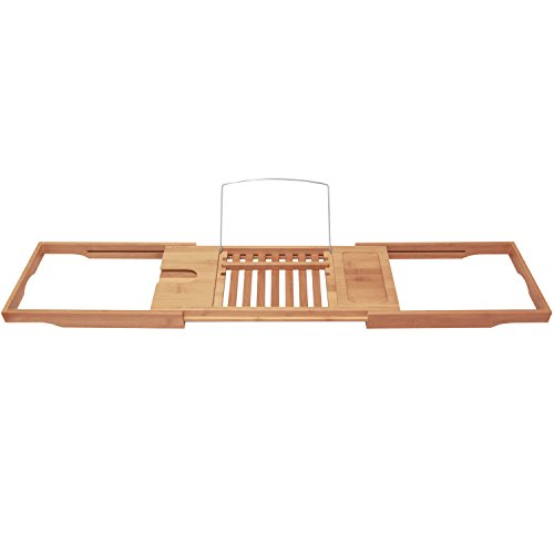 ToiletTree Products Bamboo Bathtub Caddy with Extending Sides and ...