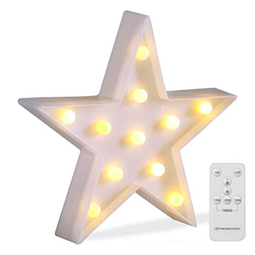Battery Operated Night Light LED Marquee Sign with Wireless Remote Control for Kids' Room, Bedroom, Gift, Party, Home Decorations(White Star)]()