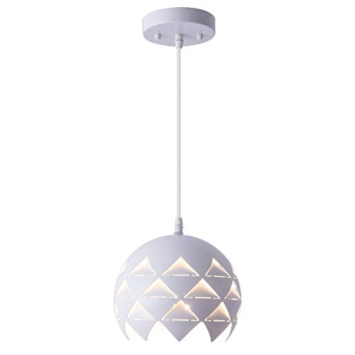Smellbt Modern Mini Globe Pendant Light with 7.9-inch Laser-cutt Round Shape 1-Light Adjustable Mini White Kitchen Pendant Lighting Fixture for Kitchen Island Loft Counter Bar Restaurant