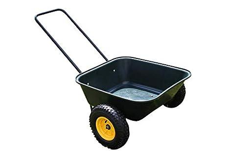 Cilindro de carretilla de jardín grande de alta resistencia con dos ruedas - PVC 65 litros bandeja de transporte - 125Kgs: Amazon.es: Amazon.es