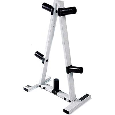 "CAP Barbell' 2"" Plate Hole Tree Olympic Plate Rack in Black/White"
