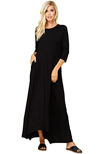Annabelle Women's 3/4 Sleeve Casual Loose Fit Maxi Dresses With Side Pockets 2X-Large Black D5212X