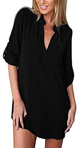 Donna Unico Moda Button Bluse Casual Giovane Chic Shirt Tops Manica Estivi Elegante Stampate Ragazza Camicie Pattern V Lunga Bendare Chiffon Primaverile Moda Neck USnqEna