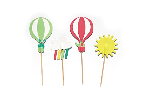 Merrilulu Up Up and Away- Cupcake, Cake Toppers | 12 Pack | Hot Air Balloon Party | Birthday, Baby Shower | Sunshine, Clouds, Rain | Rainbow Rain | Party Supply -