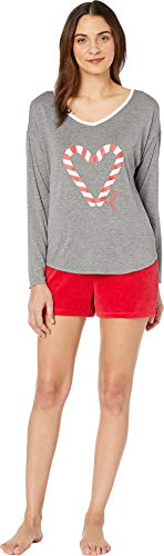 - Juicy Couture Women's Juicy Long Sleeve Top/Velour Flare Shorts Set Charcoal Heather Medium