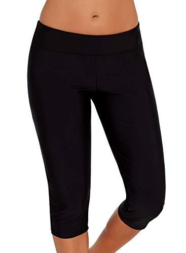 Aleumdr Womens Mid Waist Rash Guard Pants Crop Swim Leggings Unitard Tankini Capri Black Small 4 6 ()