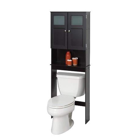 OE TSR Double Door Linen Toiletry Storage with Glass Window, Space Saver Toilet Shelf, Over-The-Toilet Shelf, Black Bathroom Organizer with E-Book