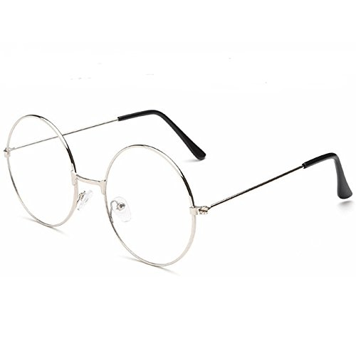 Small Round Glasses Costume (TRIXES Unisex Silver Retro Sixties Style Round Metal)
