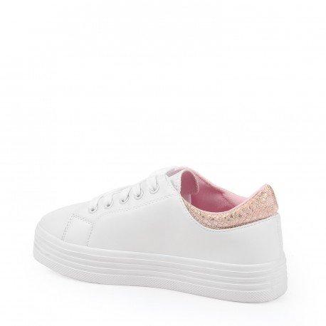 c9a22b5311f1cb Ideal Shoes Sneaker Weiße Glitzer und Farbige Hinten Billie