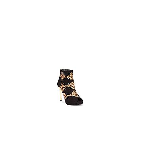 Thalia Sodi Women's Shoes Zabila Peep Toe Canvas Platform Heel (7, Black Leopard) ()