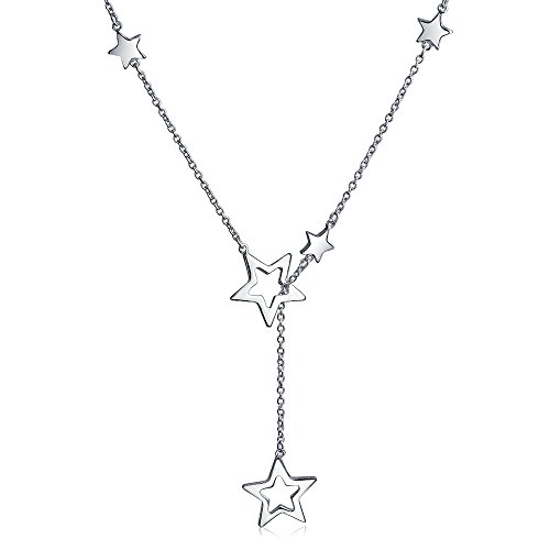 Bling Jewelry Patriotic 925 Sterling Silver Open Star Dangle Lariat Necklace by Bling Jewelry