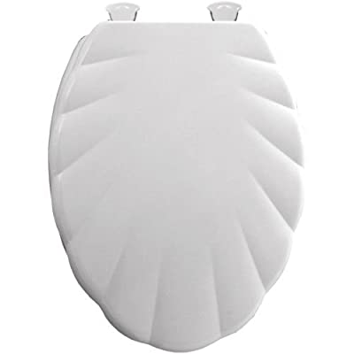 Mayfair 22ECA 000 Shell Sculptured Molded Wood Toilet Seat featuring Easy Clean & Change Hinges and STA-TITE Seat Fastening System, Round, White