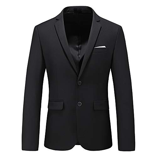 Mens Casual Two Button Single Breasted Suit Jacket Modern Wedding Tux Blazer US Size 44 (Label Size 6XL) Black ()