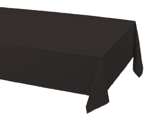 Creative Converting Touch of Color Plastic Table Cover, 54 by 108-Inch, Black Velvet -