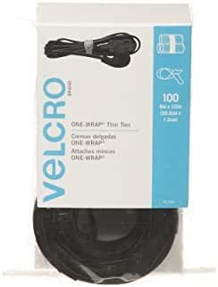 VELCRO Brand One Wrap Thin Ties, Black, 8 x 1/2-Inch, 100 Count (91140)