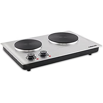 Cusimax 1800W Double Hot Plate , Stainless Countertop Burner, Silver Portable  Electric Cooktop, CMHP