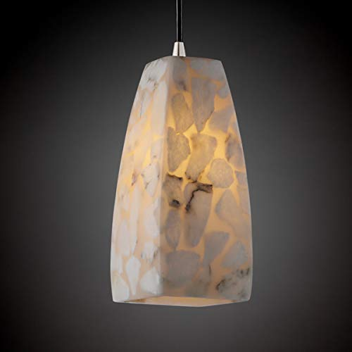 Justice Design Fan - Justice Design Group ALR-8816-65-NCKL Alabaster Rocks! Collection 1-Light Pendant, Small