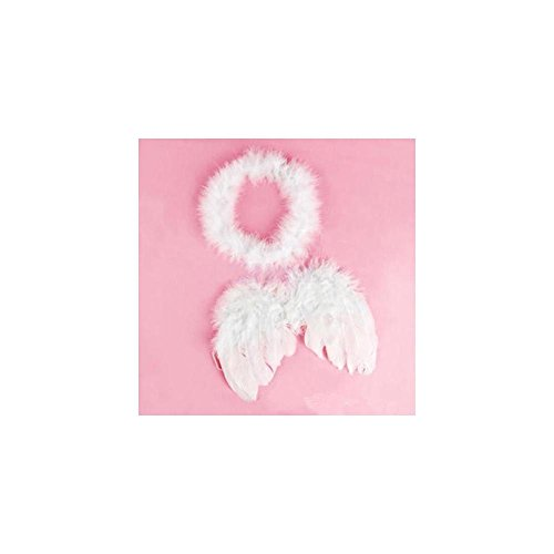 [Baby Infant Toddler Newborn Kids Angel Costume Feather Wings Fairy Props White] (Full Halo Costumes)