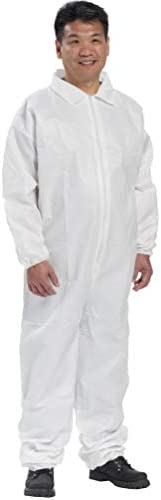 AMZ Disposable Overalls. White Adult Overalls. Small Polypropylene Fabric Apparel with Zipper Front Entry and