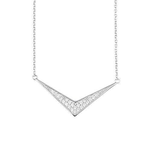 - blackbox Jewelry Sterling Silver White Cubic Zirconia Simulated Diamond Decorative Triangle Pendant Necklace