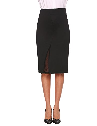 ANGVNS Women Midi Pencil Skirt For Office Wear Exposed Back Zipper