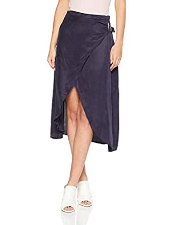 THIRD FORM Women's Here Before Wrap Skirt, Navy Stripe, Extra Small