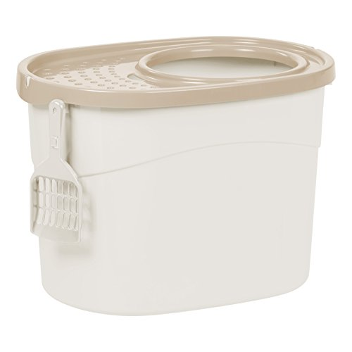 IRIS Top Entry Cat Litter Box with Cat Litter Scoop, White and Beige ()