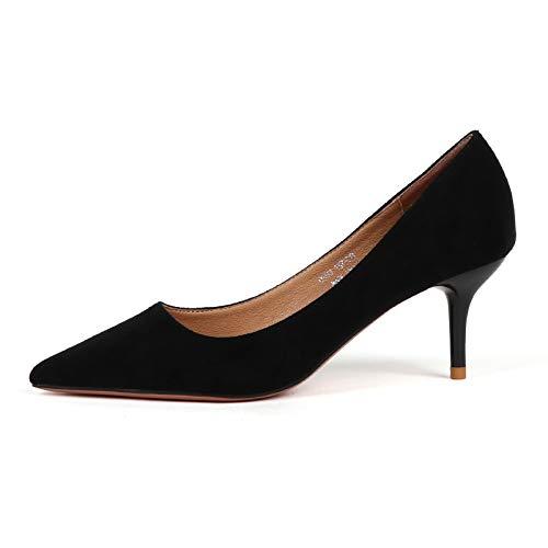 Yukun zapatos de tacón alto Zapatos De Ante De Otoño En Punta Tacones Altos De Las Mujeres Finas con Zapatos Individuales Zapatos De Gato Zapatos Salvajes Black